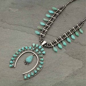 Jewelry - Full Squash Blossom Faux Turquoise Necklace
